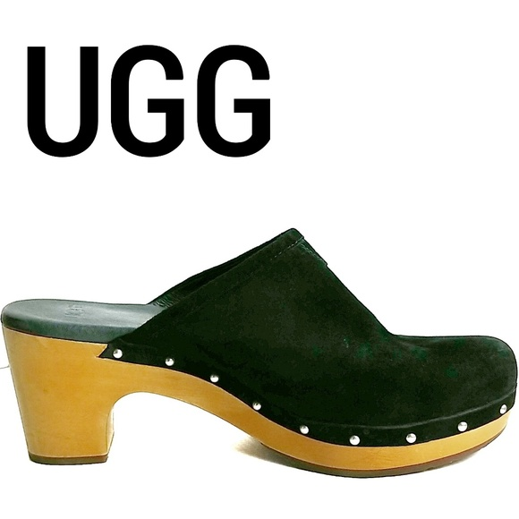 "UGG Shoes - UGG Suede Wooden Heel Clogs "" Abbie "" Size 9"